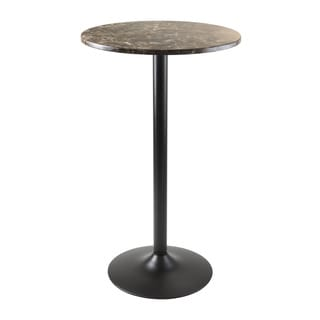 Winsome Cora Faux Marble Top Wooden Round Bar Height Pub Table