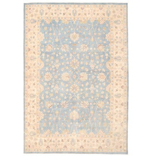 Herat Oriental Afghan Hand-knotted Oushak Light Blue/ Ivory Wool Rug (10' x 14'3)