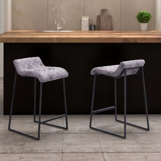 Father Counter Vintage Faux Leather White and Brown Stool (Set of 2)