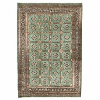 Herat Oriental Pakistani Hand-knotted Bokhara Green/ Ivory Wool Rug (6'5 x 9'6)