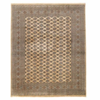 Herat Oriental Pakistani Hand-knotted Bokhara Beige/ Gold Wool Rug (9'1 x 11'8)