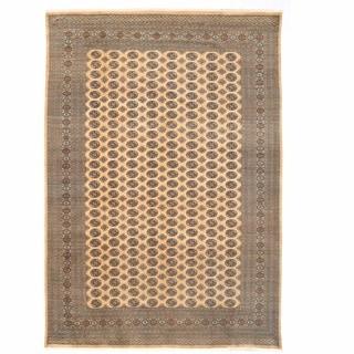 Herat Oriental Pakistani Hand-knotted Bokhara Beige/ Gold Wool Rug (10' x 14'3)