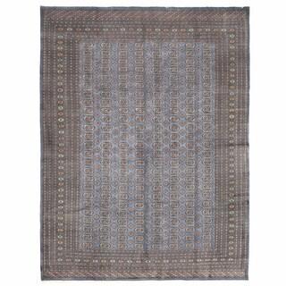 Herat Oriental Pakistani Hand-knotted Bokhara Gray/ Ivory Wool Rug (10' x 13'2)