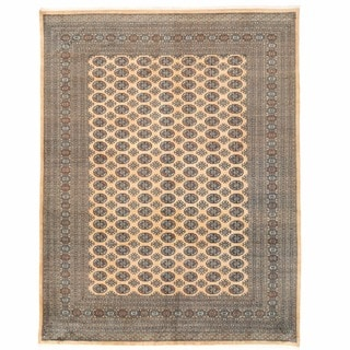 Herat Oriental Pakistani Hand-knotted Bokhara Beige/ Gold Wool Rug (9' x 11'10)