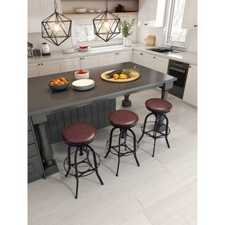 Crete Burgundy & Antique Black Faux Leather Barstool