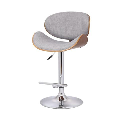 US Pride Furniture Walnut and Grey Fabric Adjustable Swivel Bar Stool