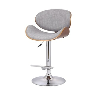 US Pride Furniture Walnut and Grey Fabric Adjustable Swivel Bar Stool