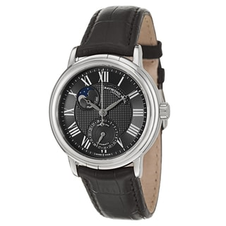 Raymond Weil Men's Stainless Steel and Black Leather Strap Watch