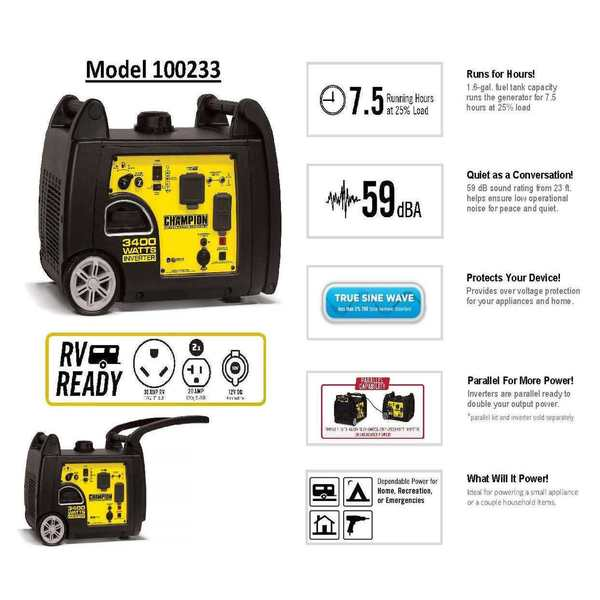 Shop Champion 3400-Watt RV Ready Portable Inverter Generator