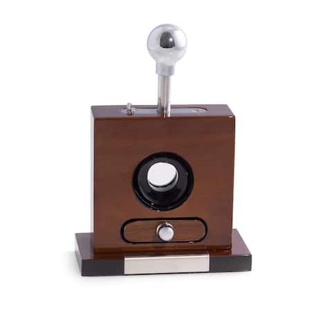 Brown Walnut Wood Table-top Cigar Cutter