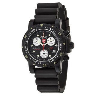 Swiss Military Men's Black Rubber and Stainless Steel Watch