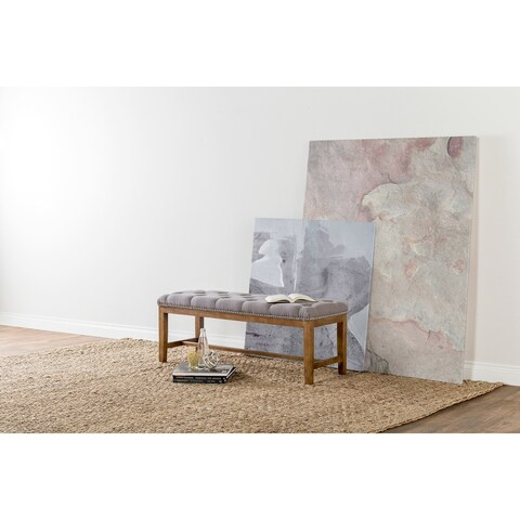 Jay Tufted Grey Upholstered 46-inch Bench by Kosas Home