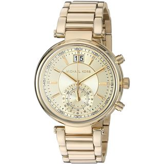 Michael Kors Women's MK6362 'Sawyer' Dual Time Crystal Gold-Tone Stainless Steel Watch