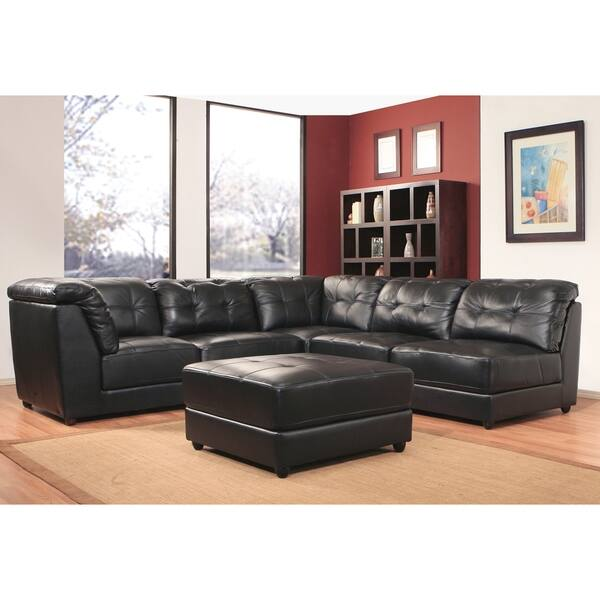 Abbyson Montreal 6 Piece Top Grain Leather Modular Sectional Black