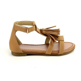 Jelly Beans Girls' Camel Brown Faux-leather Sandals