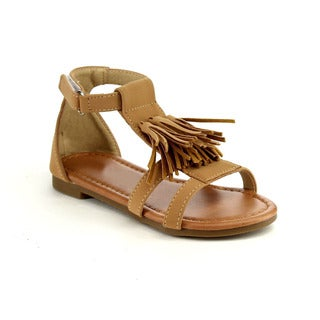 Jelly Beans Girls' Camel Brown Faux-leather Sandals (Option: Tan)