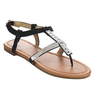 Jelly Beans Girl's DC47 Black Faux Leather Rhinestone Sandals