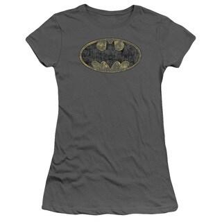 Batman/Tattered Logo Junior Sheer in Charcoal