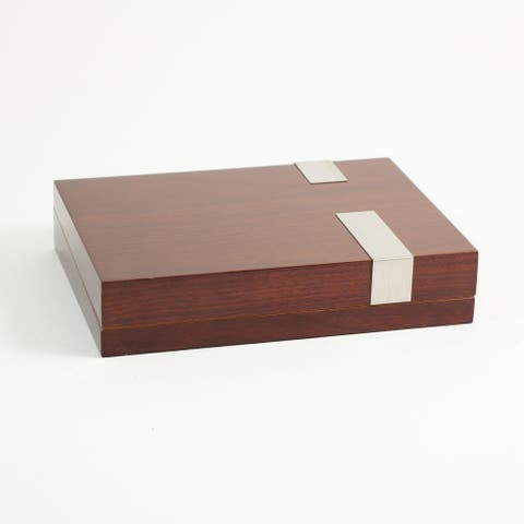 Brown Lacquered Wood 12-cigar Humidor