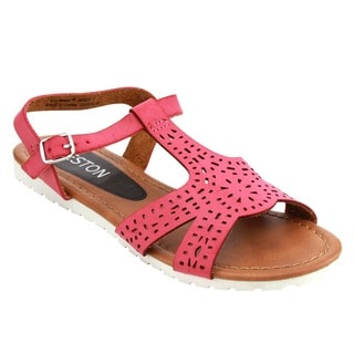 Beston Girl's Red, Tan Faux Leather T-strap Flat Sandals (Option: Tan)