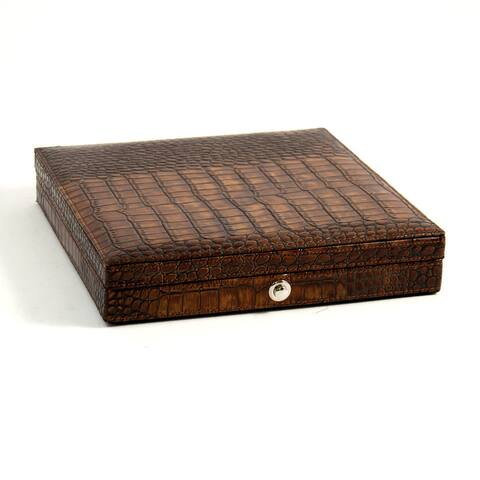 Bey Berk Brown Leather 9-inch x 9-inch x 1.75-inch Croco-debossed Cigar Humidor