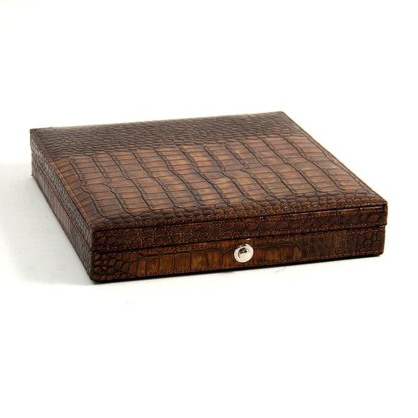 Bey Berk Brown Leather 9-inch x 9-inch x 1.75-inch Croco-debossed Cigar Humidor