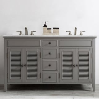 Piedmont Carrara White Marble Top 60-inch Double Vanity