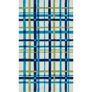 Microfiber Kit Blue/ Green Plaid Rug (3'0 x 5'0)