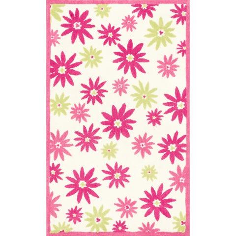 Microfiber Kit Pink/ Green Floral Rug - 5' x 7'