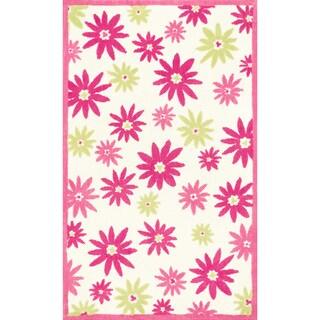 Microfiber Kit Pink/ Green Floral Rug - 5'0 x 7'0