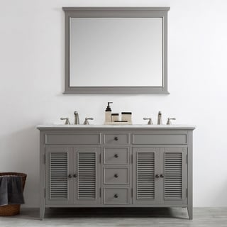 Piedmont Grey Wood Marble-top Double Vanity with Mirror