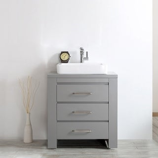 Pascara Grey Wood With White Drop-in Porcelain Vessel Sink Single Vanity