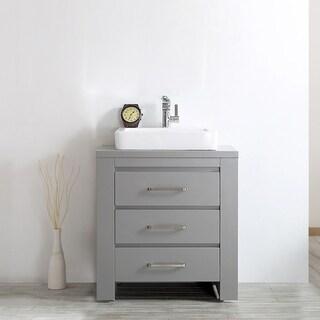 Pascara Grey Wood With White Drop-in Porcelain Vessel Sink Single Vanity