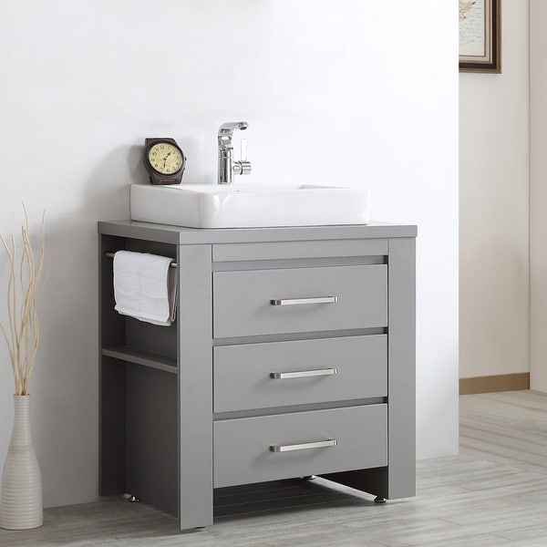 ... Grey Wood With White Drop-in Porcelain Vessel Sink Single Vanity