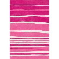 Microfiber Kit Pink Stripe Rug (3'0 x 5'0) - 3' x 5'