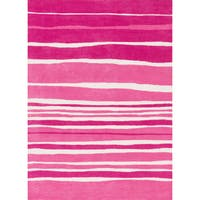 Microfiber Kit Pink Stripe Rug (5'0 x 7'0)