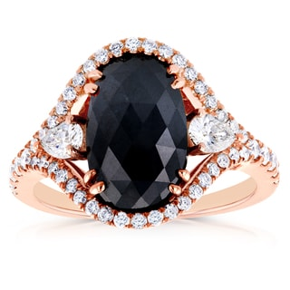 Annello by Kobelli 18k Rose Gold 3 7/8ct TDW Black and White Diamond Vintage Oval Ring (G