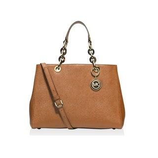 Michael Kors Cynthia Medium Leather Peanut Gold Satchel Handbag