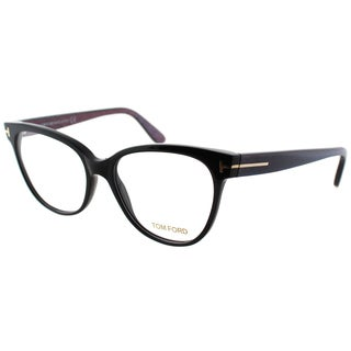 Tom Ford Women's FT 5291 005 Black/Chalkstripe Blue/Violet Plastic Cat Eye Eyeglasses