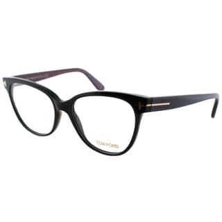 Tom Ford Women's FT 5291 005 Black/Chalkstripe Blue/Violet Plastic Cat Eye Eyeglasses