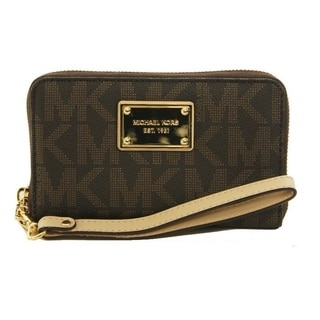 Michael Kors Jet Set Large Brown Signature Phone Wristlet Wallet