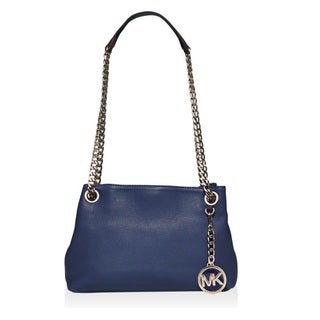 Michael Kors Jet Set Medium Leather Navy Crossbody Handbag