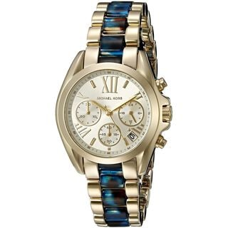 Michael Kors Women's MK6318 'Mini Bradshaw' Chronograph Two-Tone Stainless steel and Acetate Watch