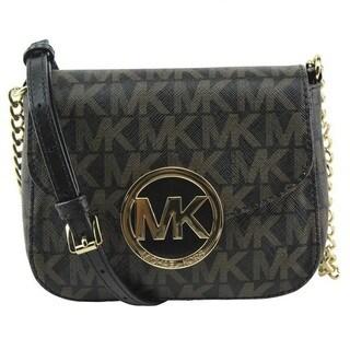 Michael Kors Fulton Small Dark Brown Signature Crossbody Handbag