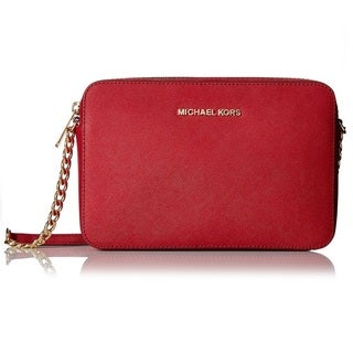 Michael Kors Jet Set Large Saffiano Leather Cherry Crossbody Handbag