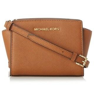 Michael Kors Selma Luggage Brown Mini Crossbody Handbag