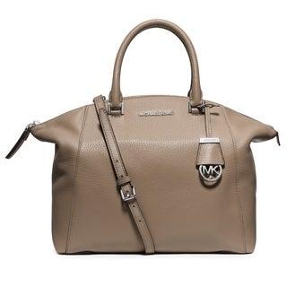 Michael Kors Riley Large Dark Taupe Leather Satchel Handbag