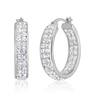 Rhodium-plated In and Out Crystal Hoop Earrings