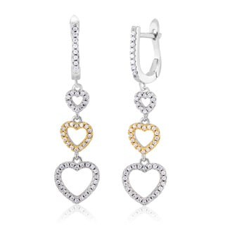 Sterling Silver 18-karat Yellow Gold and Rhodium-plated Cubic Zirconia Triple Heart Dangling Earrings