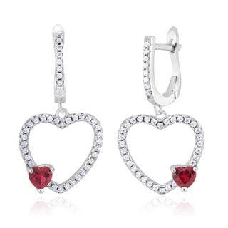 Sterling Silver Cubic Zirconia Rhodium-plated Open Heart with Heart Cut Garnet Dangling Earrings